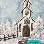 Winter Chapel The Social Easel Online Paint Studio