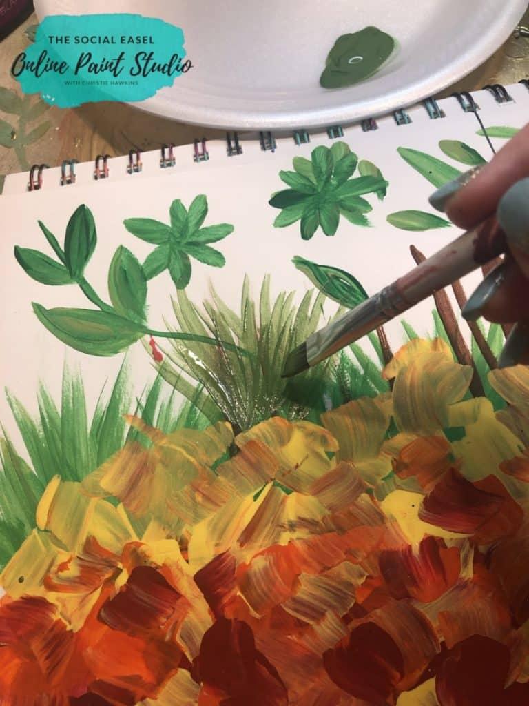 Angled Paint Brush Painting Grass