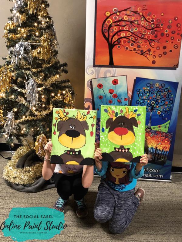Cute Reindeer Painting Kids Art Camp The Social Easel Online Paint Studio