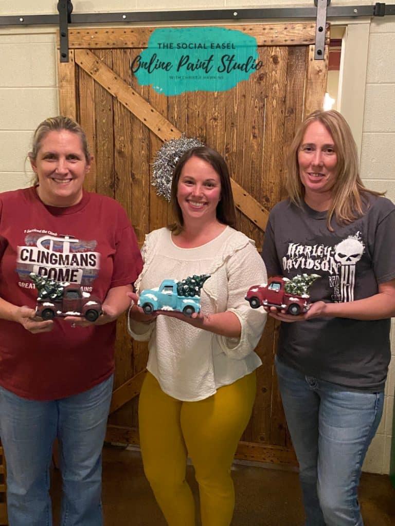 Group painting Ceramic Christmas trucks The Social Easel Online Paint Studio