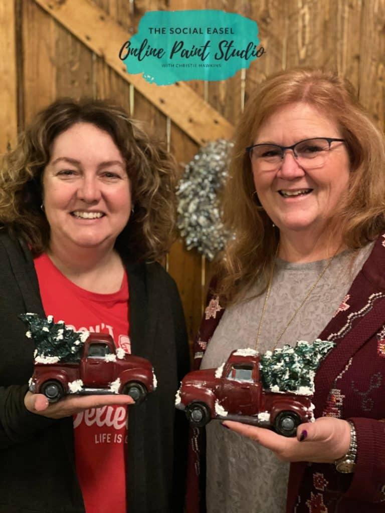 friends paint DIY Ceramic Christmas trucks The Social Easel Online Paint Studio
