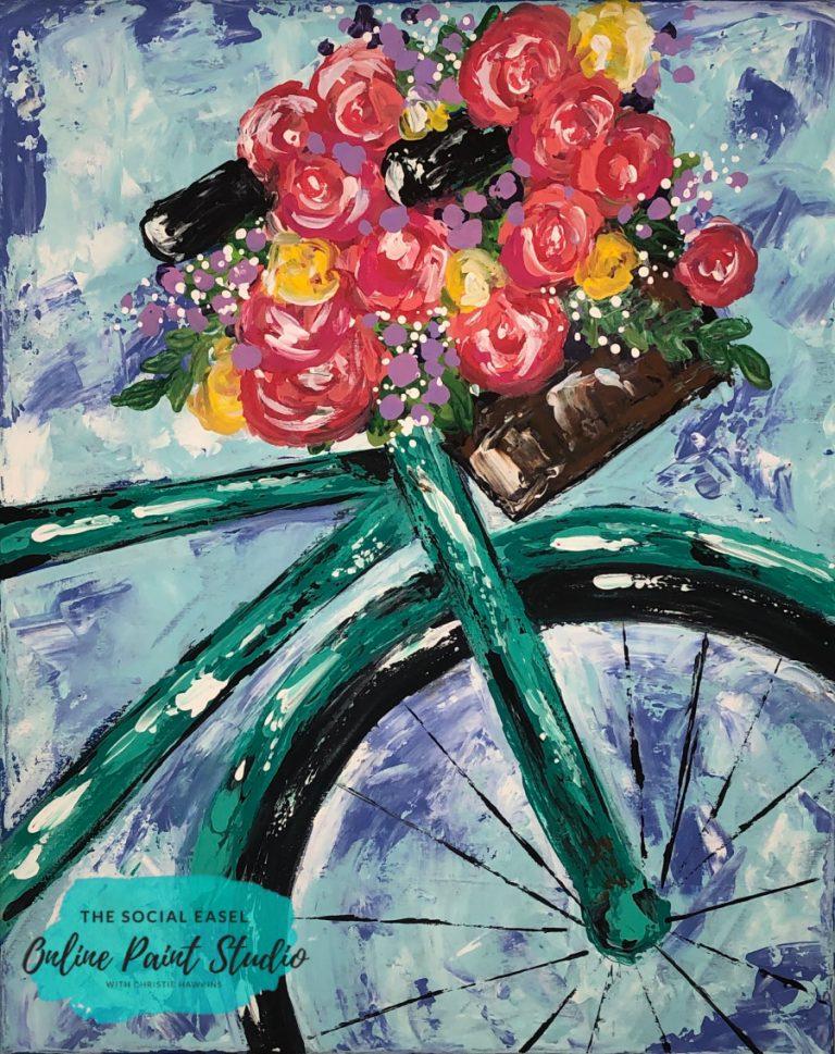 Palette Knife Bike with Floral Basket The Social Easel Online Paint Studio