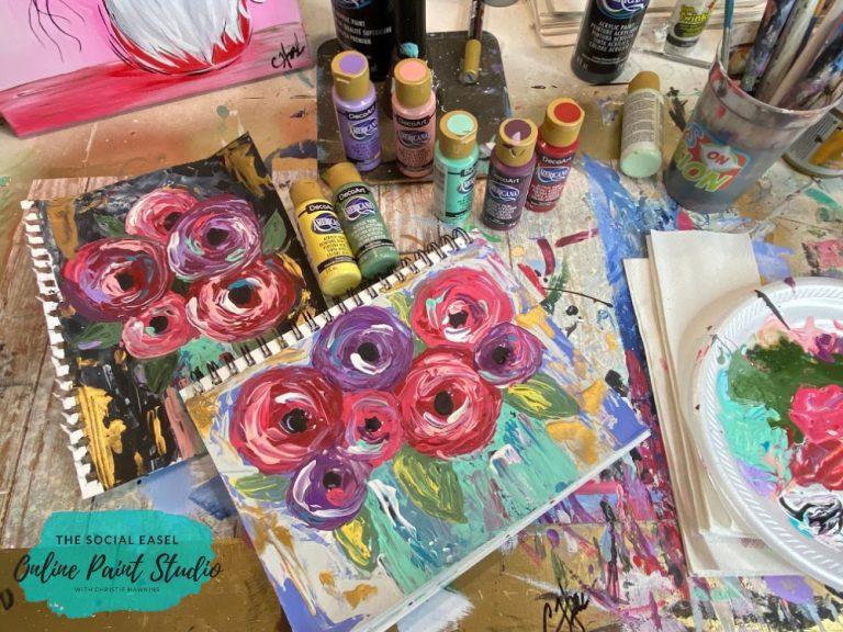 Painting Palette Knife Flowers FB Live Tutorial