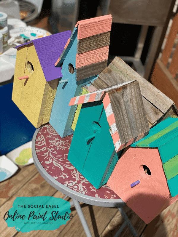 Outdoor Craft paint DIY Birdhouses The Social Easel Online Paint Studio2