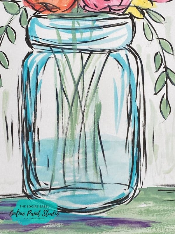 Close Up Mason Jar with Spring Flowers The Social Easel Online Paint Studio