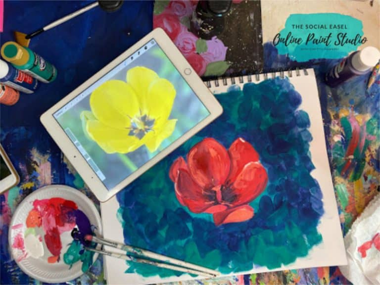 How to Paint from a Photograph The Social Easel Online Paint Studio with ipad flatlay