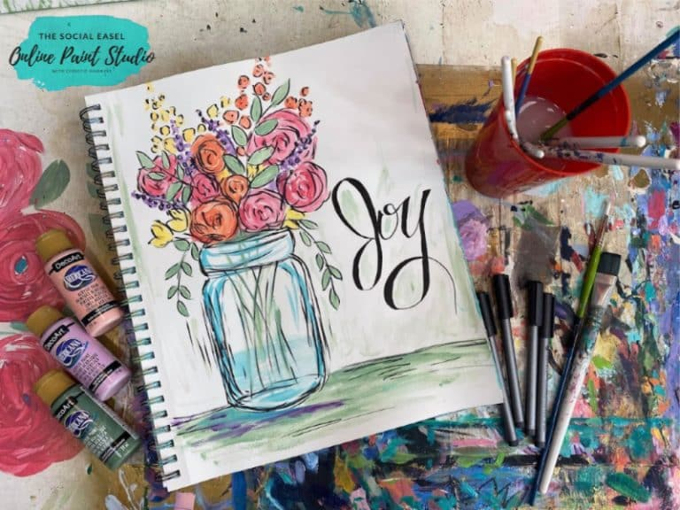 Mason Jar with Spring Flowers The Social Easel Online Paint Studio
