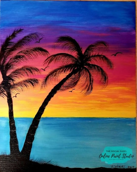 Painting with Kids Sunset The Social Easel Online Paint Studio