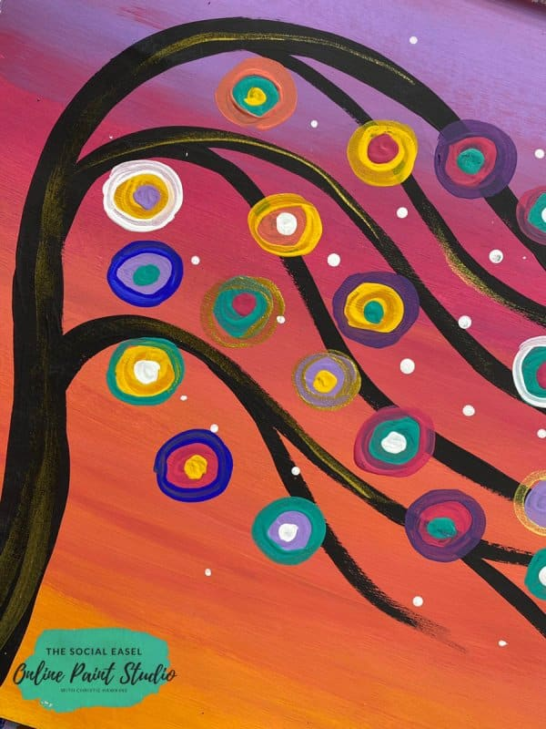 Close Up How to Paint Whimsical Tree Beginners Painting Tutorial The Social Easel Online Painting Studio