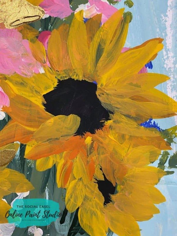 Close Up Sunflower Still Life The Social Easel Online Paint Studio
