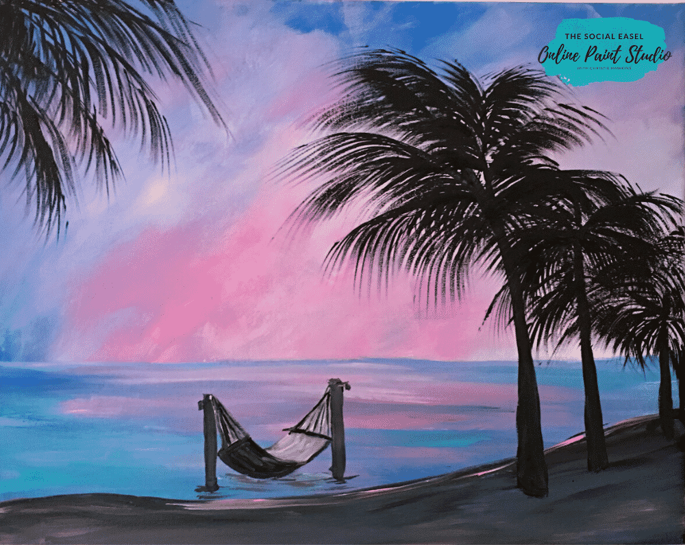 Paradise Beach The Social Easel Online Paint Studio