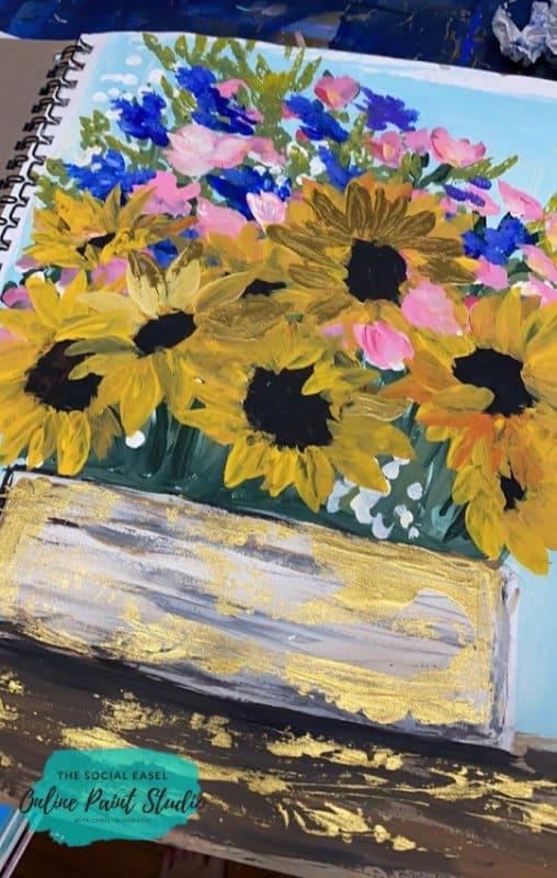 Paint A Sunflower Still Life The Social Easel Online Paint Studio