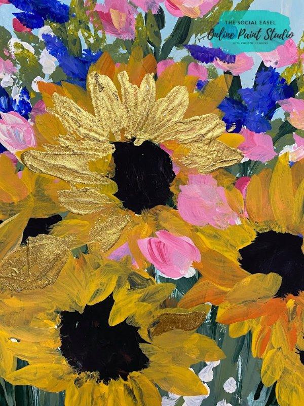 golden Sunflower Still Life The Social Easel Online Paint Studio