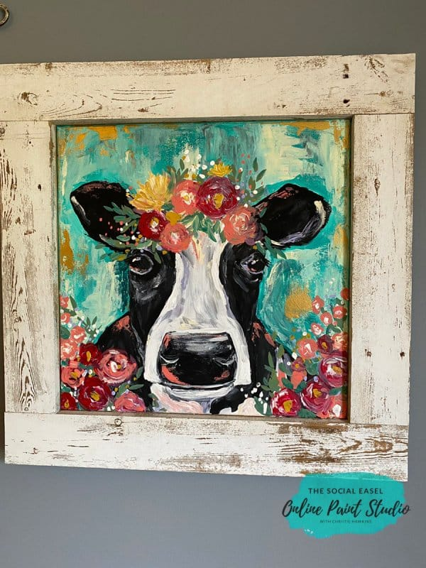 cow Back DIY Rustic Wood Frames For Canvas The Social Easel Online Paint Studio