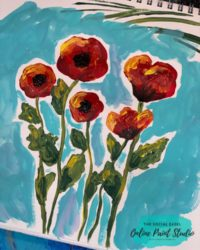 Painting Abstract Poppies With A Round Brush