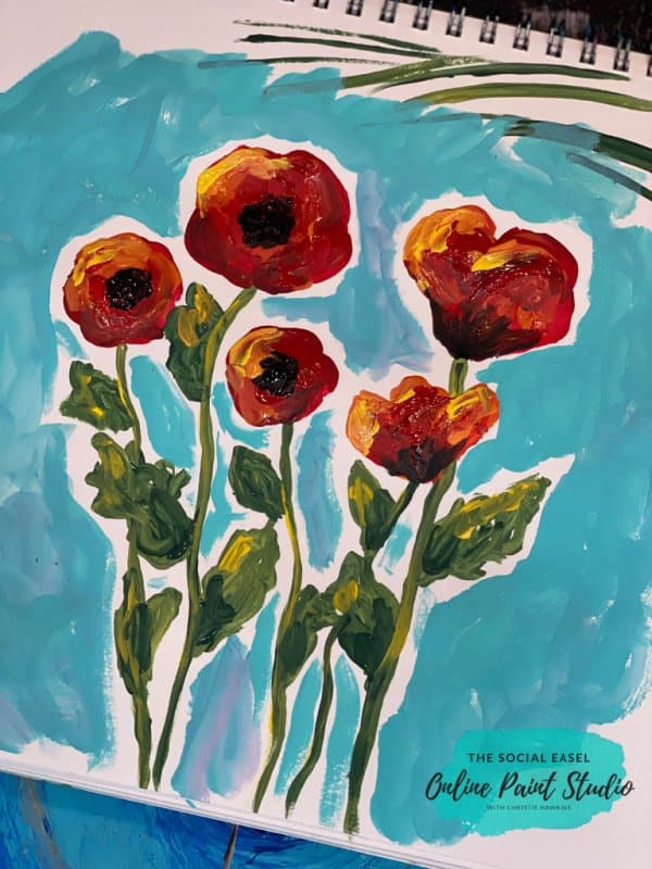 Painting Abstract Poppies The Social Easel Online Paint Studio