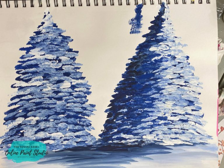 Shade and Highlight Acrylic Paintings Evergreen Tree The Social Easel Online Paint Studio
