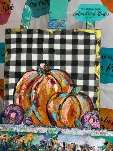 buffalo plaid rustic pumpkin the social easel painting tutorial