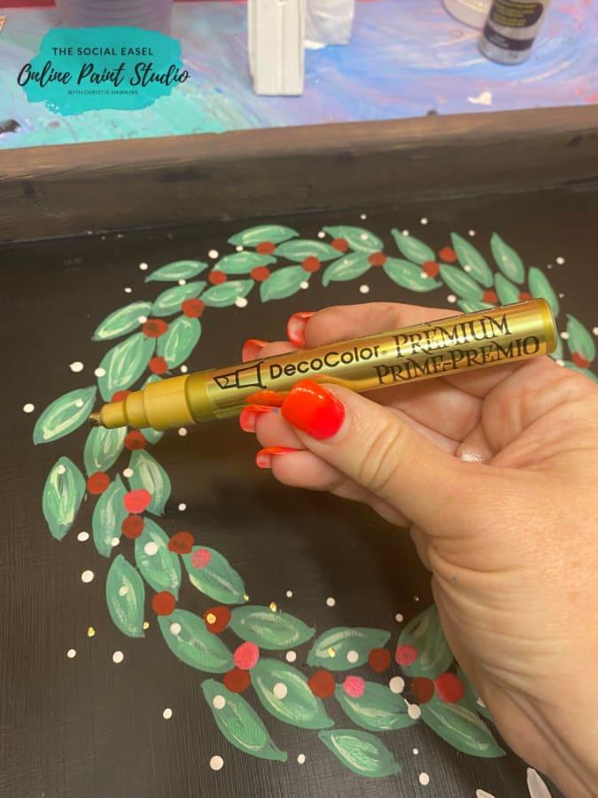 DIY Farmhouse Christmas Countdown The Social Easel Online Paint Studio Gold Paint Pen