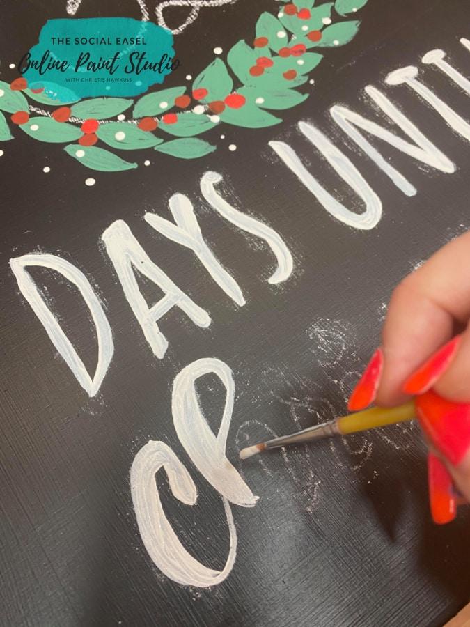 DIY Farmhouse Christmas Countdown The Social Easel Online Paint Studio Lettering