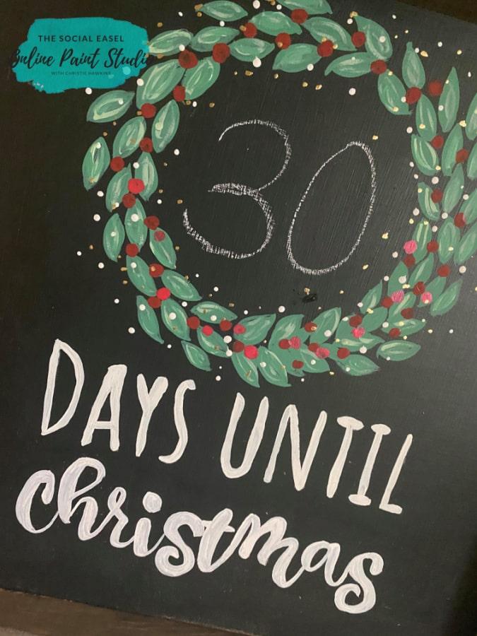 DIY Farmhouse Christmas Countdown The Social Easel Online Paint Studio closeup