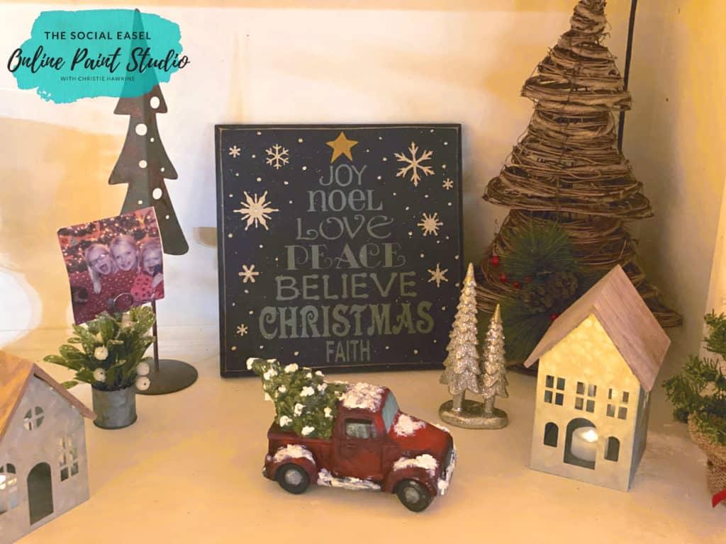 Book Shelf Christmas Tree Tour The Social Easel Online Paint Studio