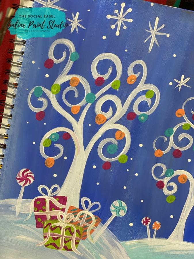 Gifts Whimsical Christmas Scene The Social Easel Online Paint Studio