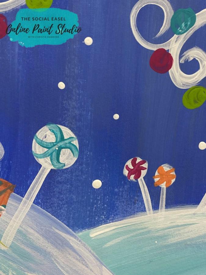 Lollipops Whimsical Christmas Scene The Social Easel Online Paint Studio
