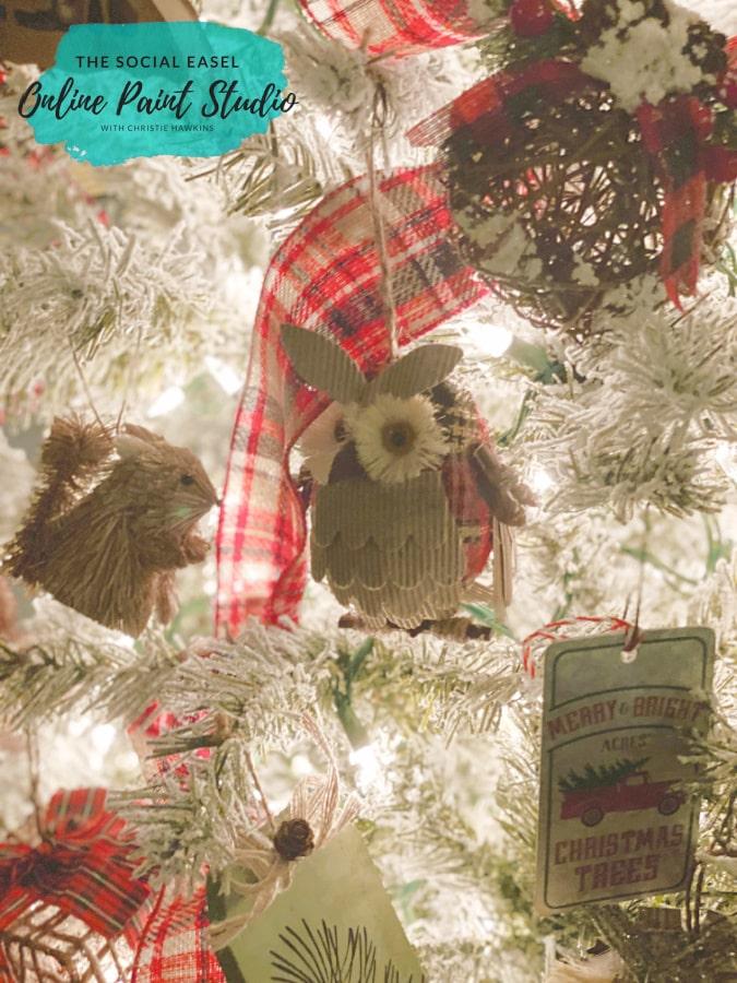Owl Christmas Tree Tour The Social Easel Online Paint Studio