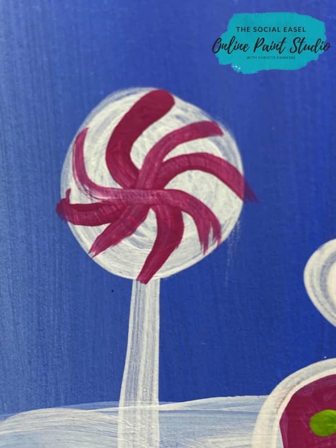 Peppermint lollipop Whimsical Christmas Scene The Social Easel Online Paint Studio