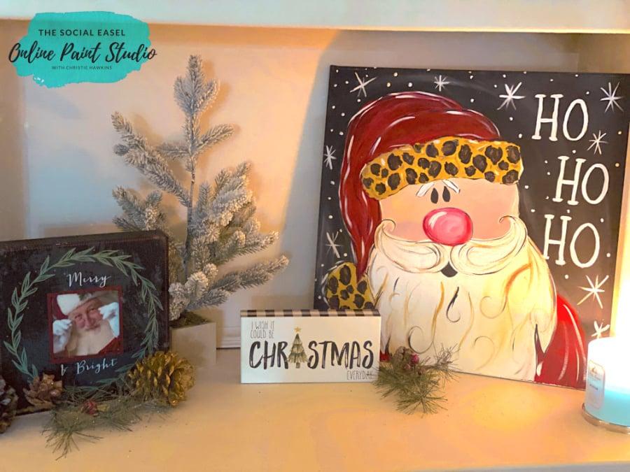 Santa Christmas Tree Tour The Social Easel Online Paint Studio