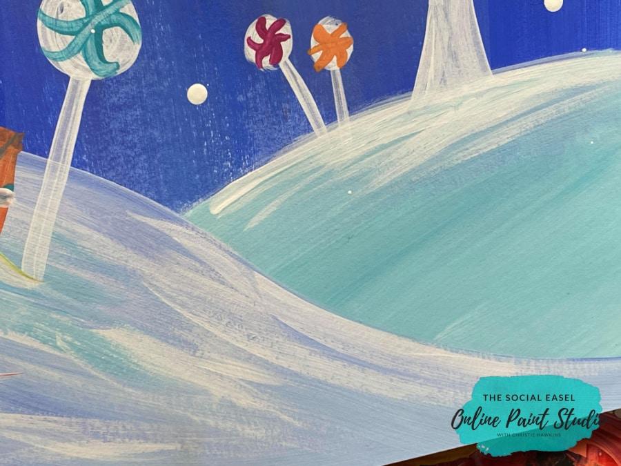 Snowy Hills Whimsical Christmas Scene The Social Easel Online Paint Studio
