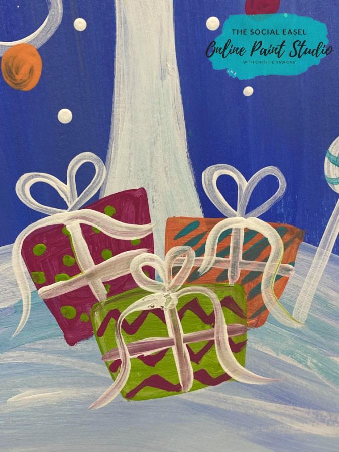 Whimsical Christmas Scene Gifts The Social Easel Online Paint Studio