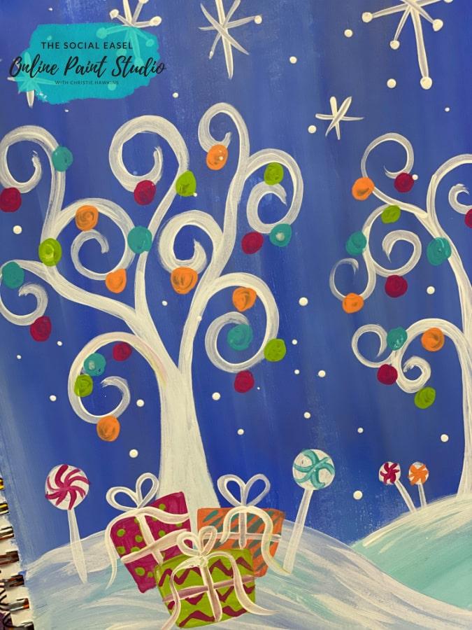 Whimsical Christmas Scene The Social Easel Online Paint Studio Christie Hawkins