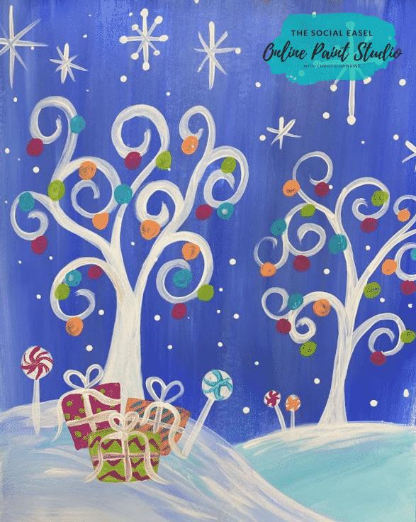 Whimsical Christmas Scene The Social Easel Online Paint Studio