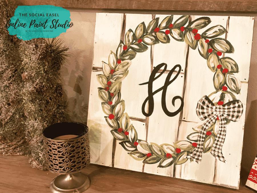 Wreath Christmas Tree Tour The Social Easel Online Paint Studio