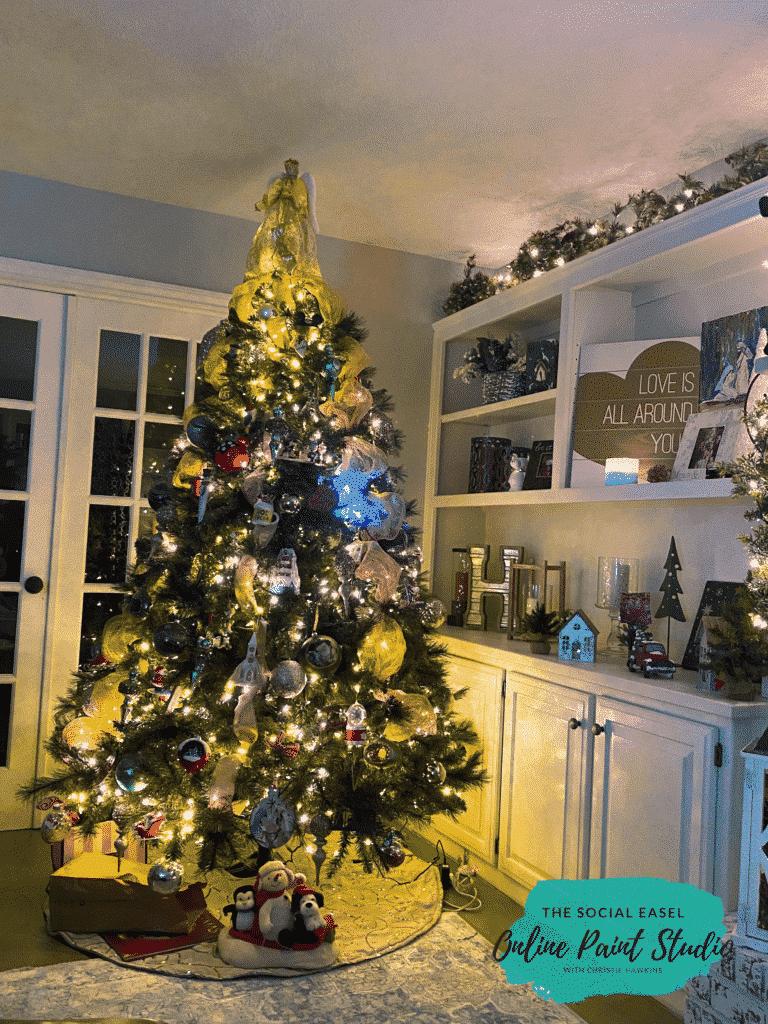 living Room Christmas Tree Tour The Social Easel Online Paint Studio