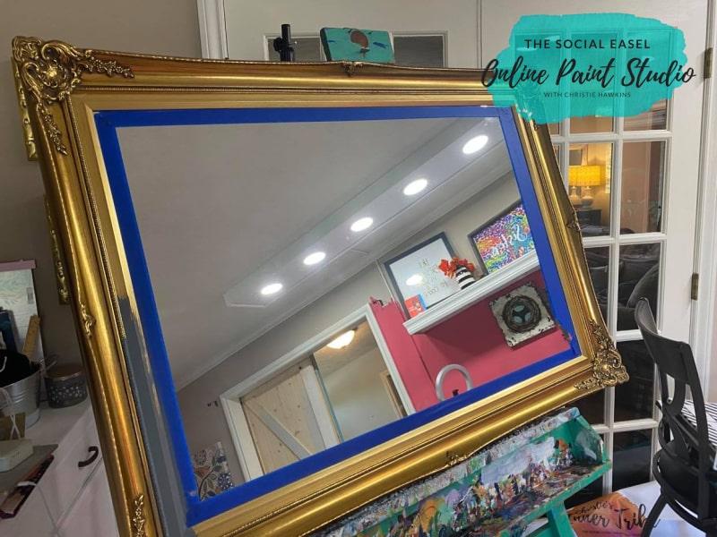 Before Metallic Gold Ornate Mirror  The Social Easel Online Paint Studio