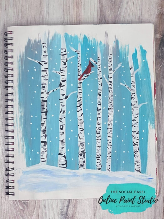 Birch Trees with Cardinals painted in a mixed media pad The Social Easel Online Paint Studio