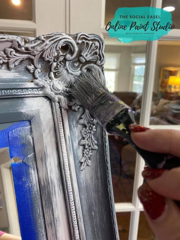 Dry brushing Ornate Mirror Makeover The Social Easel Online Paint Studio