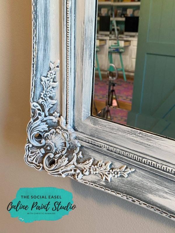Final Corner Closeup Ornate Mirror Makeover The Social Easel Online Paint Studio