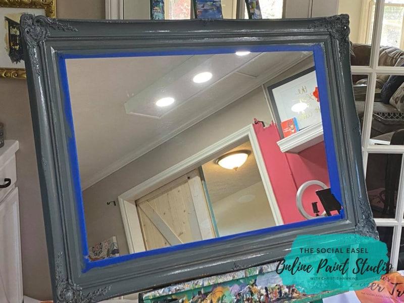 Gray Paint Ornate Mirror Makeover The Social Easel Online Paint Studio
