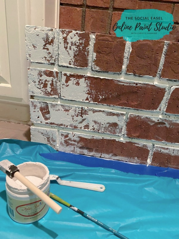 Painting Brick Faux German Smear Brick Fireplace Makeover The Social Easel Online Paint Studio