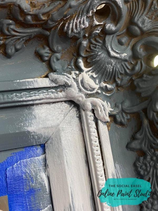 White over gray Ornate Mirror Makeover The Social Easel Online Paint Studio