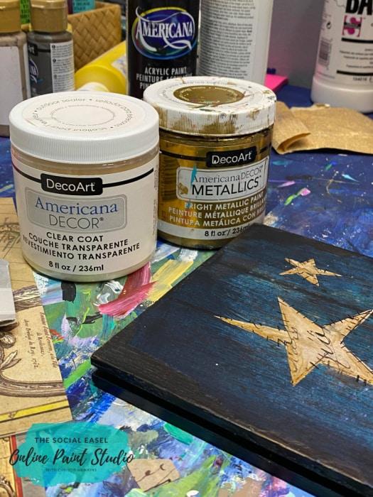 Deco Art Clear Coat and Bright Metallic Americana Mixed Media Flag The Social Easel Online Paint Studio
