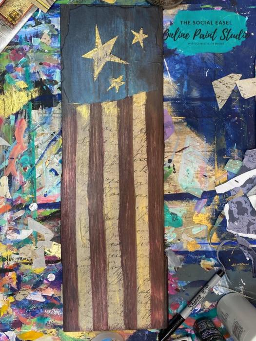 Mixed Media Americana Flag The Social Easel Online Paint Studio