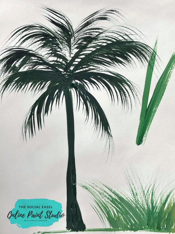 painting a palm tree with a rake brush The Social Easel Online Paint Studio