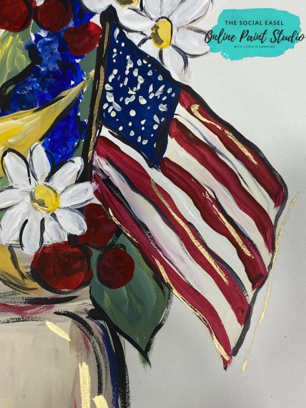 American Flag Bouquet The Social Easel Online Paint Studio