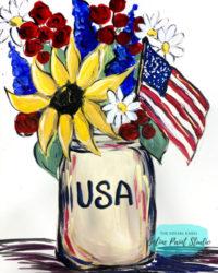 Draw and Paint an Americana Mason Jar Bouquet