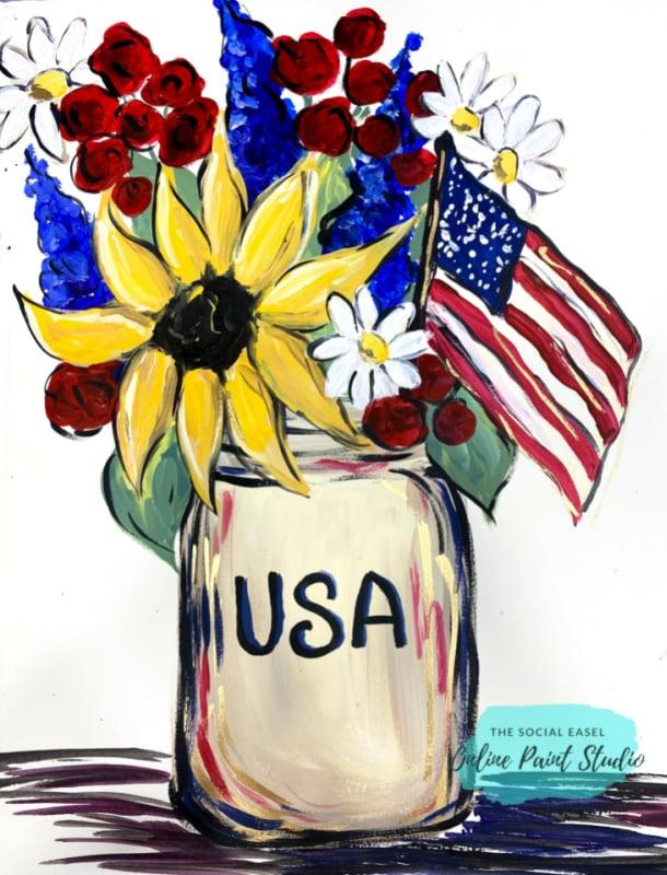 Americana Mason Jar Bouquet The Social Easel Online Paint Studio